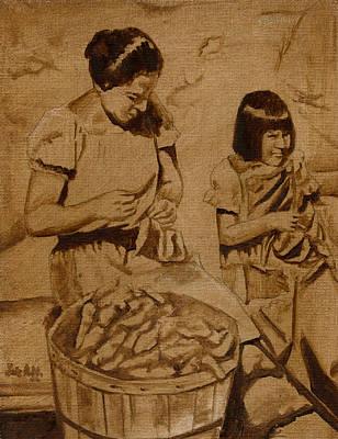 Burnt Umber Painting - Taos Pueblo by Luis  Navarro
