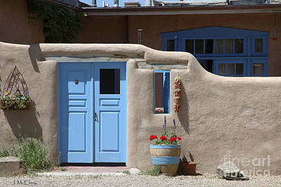 Flower Planter Photograph - Taos Street Scene by Jerry McElroy