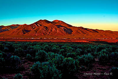 Sunset Photograph - Taos Sunset by Charles Muhle