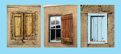 Photograph - Taos Three Windows On Turquoise by Ann Powell