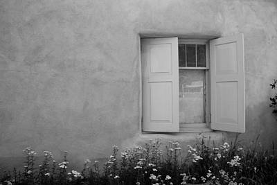 Airplane Paintings - Taos Window in Black and White by Lanita Williams