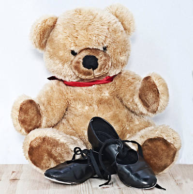 Tap Dance Shoes And Teddy Bear Dance Academy Mascot Art Print by Pedro Cardona