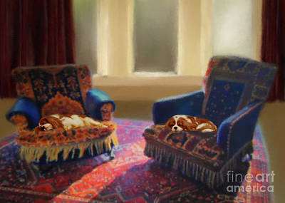 Sleeping Dog Digital Art - Tapestry Chairs Daydreaming Cavaliers by Magna Carta