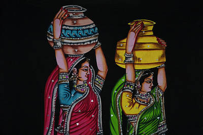 Tapestries Textiles Photograph - Tapestry Depicting Indian Girls by Keren Su