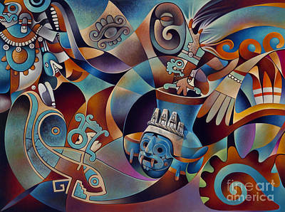 Painting - Tapestry Of Gods - Tlaloc by Ricardo Chavez-Mendez