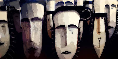 Photograph - Tapuanu Masks by Timothy Bulone