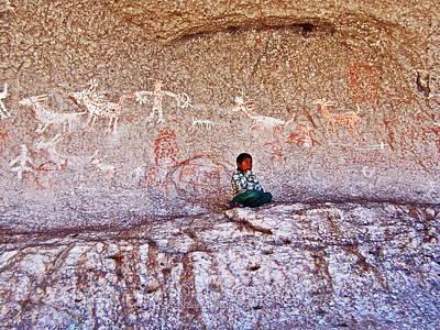 Chihuahua Digital Art - Tarahumara Boy In Painted Cave Near Chihuahua-mexico by Ruth Hager