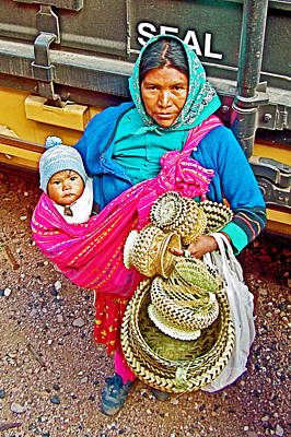 Chihuahua Digital Art - Tarahumara Indian Selling Baskets At Bahuichivo Train Stop In Chihuahua-mexico  by Ruth Hager
