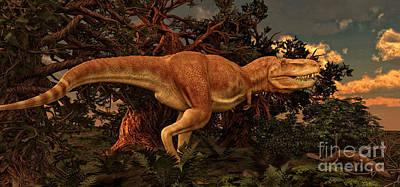 Tarbosaurus Digital Art - Tarbosaurus Was A Theropod Dinosaur by Philip Brownlow
