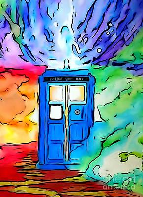 Justin Moore Drawing - Tardis Illustration Edition by Justin Moore