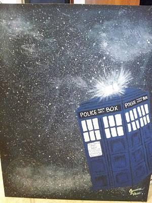 Tardis In Space Art Print by Jessica Vass