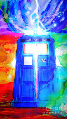 Science Fiction Drawings - Tardis by Justin Moore