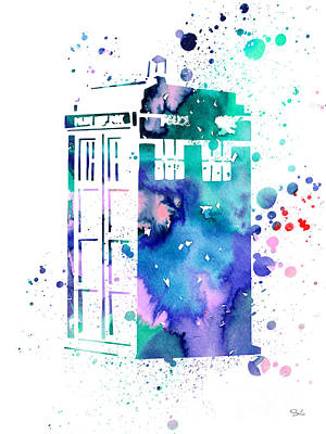Tardis Painting - Tardis by Watercolor Girl
