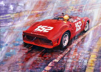 1962 Painting - Targa Florio 1962 Ferrari Dino 246 Sp R Rodrigues  by Yuriy Shevchuk