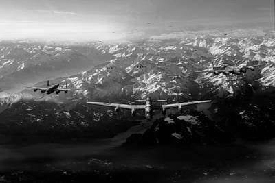 Digital Art - Target Tirpitz In Sight Black And White Version by Gary Eason
