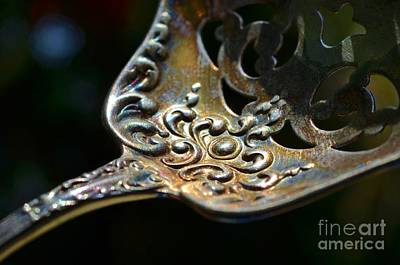 Sterling Silver Photograph - Tarnished Silver Spoon by Carol McGunagle