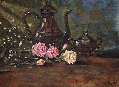 Tarnished Silverware And Roses Original by Praisey Peter
