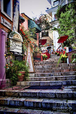 Taormina Steps Sicily Art Print by David Smith