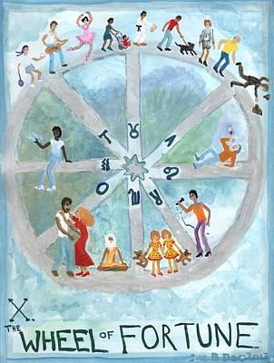 Tarot 10 The Wheel Of Fortune Original by Sushila Burgess