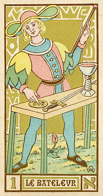 Tarot Drawing - Tarot Card 1 -- Le Bateleur (the by Mary Evans Picture Library