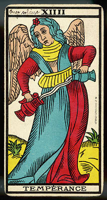 Tarot Drawing - Tarot Card 14 - La Temperance by Mary Evans Picture Library