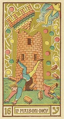 Tarot Drawing - Tarot Card 16 - La Maison Dieu (the by Mary Evans Picture Library