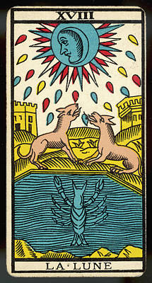 Tarot Drawing - Tarot Card 18 - La Lune (the Moon) by Mary Evans Picture Library
