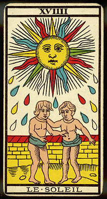 Tarot Drawing - Tarot Card 19 - Le Soleil (the Sun) by Mary Evans Picture Library