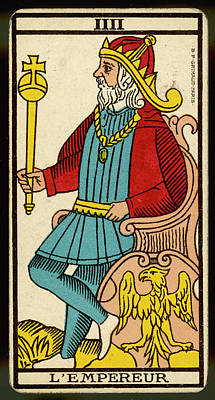 Tarot Drawing - Tarot Card 4 - L'empereur (the Emperor) by Mary Evans Picture Library