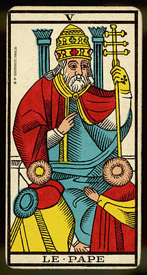 Tarot Drawing - Tarot Card 5 - Le Pape (the Pope) by Mary Evans Picture Library
