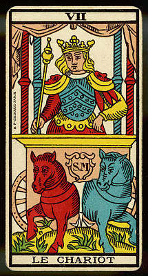 Tarot Drawing - Tarot Card 7 - Le Chariot (the Chariot) by Mary Evans Picture Library