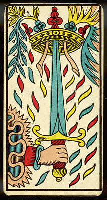 Tarot Drawing - Tarot Card - As D'epee (ace Of Swords) by Mary Evans Picture Library