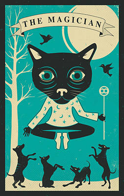 Magician Digital Art - Tarot Card Cat The Magician by Jazzberry Blue