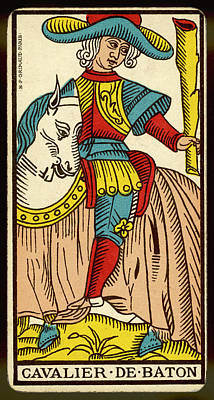 Tarot Drawing - Tarot Card - Cavalier De Baton (knight by Mary Evans Picture Library