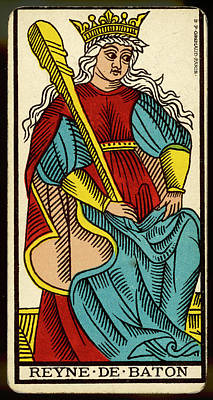 Tarot Drawing - Tarot Card - Reyne De Baton (queen by Mary Evans Picture Library