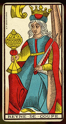 Tarot Drawing - Tarot Card - Reyne De Coupe (queen by Mary Evans Picture Library