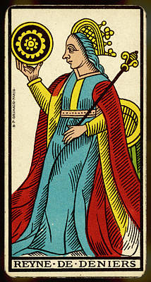 Tarot Drawing - Tarot Card - Reyne De Deniers (queen by Mary Evans Picture Library
