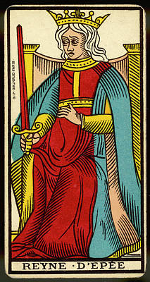 Tarot Drawing - Tarot Card - Reyne D'epee (queen by Mary Evans Picture Library