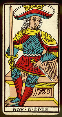 Tarot Drawing - Tarot Card - Roy D'epee (king Of Swords) by Mary Evans Picture Library