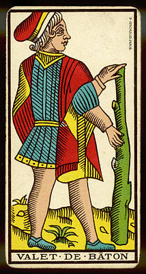 Tarot Drawing - Tarot Card - Valet De Baton (page by Mary Evans Picture Library