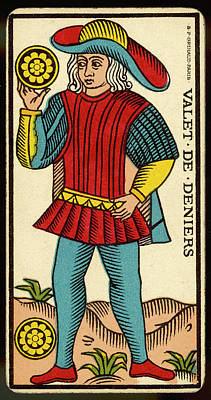 Tarot Drawing - Tarot Card - Valet De Deniers (page by Mary Evans Picture Library