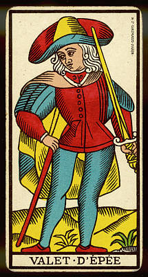 Tarot Drawing - Tarot Card - Valet D'epee (page by Mary Evans Picture Library