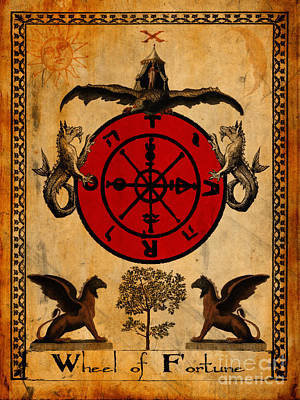 Tarot Wall Art - Painting - Tarot Card Wheel Of Fortune by Cinema Photography