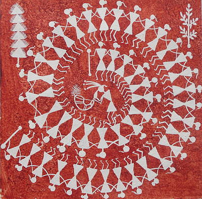 Painting - Tarpa Dance Original Warli Painting- Indian Tribal Art by Aboli Salunkhe
