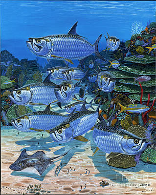 Paddler Wall Art - Painting - Tarpon Alley In0019 by Carey Chen