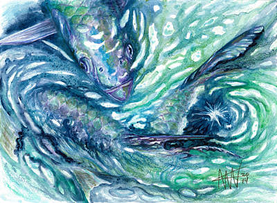 Painting - Tarpon Frenzy by Ashley Kujan