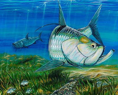 Painting - Tarpon On The Flats by Steve Ozment