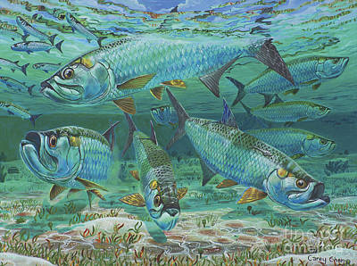 Cobia Painting - Tarpon Rolling In0025 by Carey Chen
