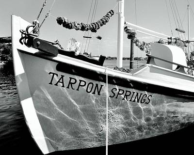 Tarpon Springs Spongeboat Black And White Art Print by Benjamin Yeager
