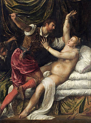 Tarquin And Lucretia, C.1568-76 Art Print by Titian